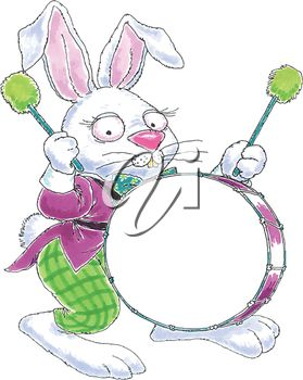 Easter Bunny with a Drum Illustration
