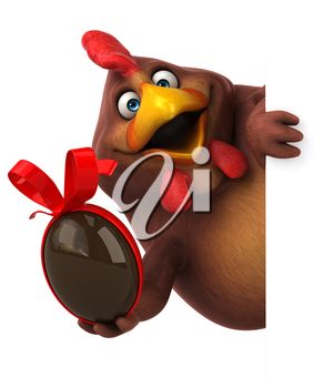 Chicken with an Easter Egg 3d Clipart