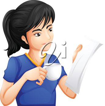 Woman reading a paper and drinking a cip of coffee.