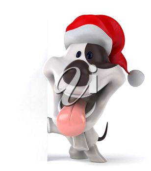 Christmas clipart image of a dog in a Santa hat.