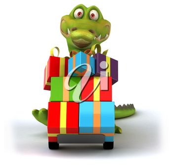 Christmas clipart image of a crocodile transporting gifts.