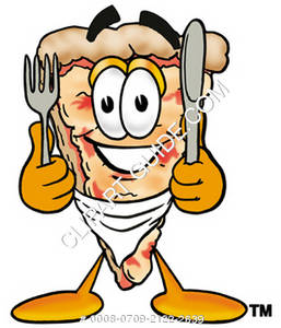 Cartoon Pizza Character Eating