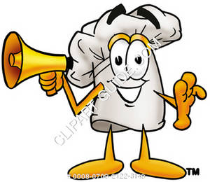 Cartoon Chef Hat holding a Megaphone