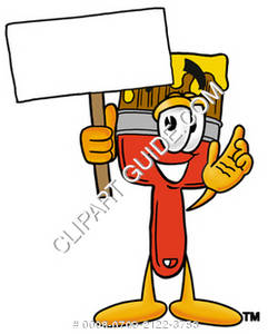 Cartoon Paint Brush Character Holding a Sign