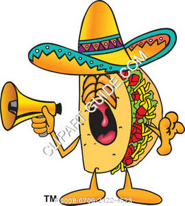 Cartoon Taco Character with Megaphone