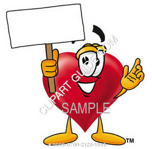 Cartoon Heart Character Holding a Sign