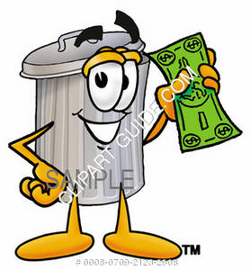 Cartoon Trash Can Character Holding Money