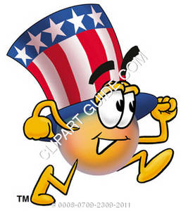 Cartoon American Hat Character Running
