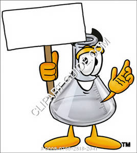 Cartoon Beaker Holding a Sign
