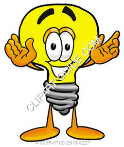 Cartoon Light Bulb Holding His Arms Up