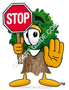 Cartoon Tree Character With a Stop Sign