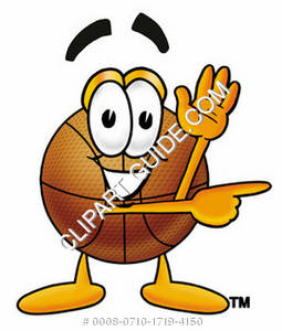 Cartoon Basketball Character Pointing Sideways