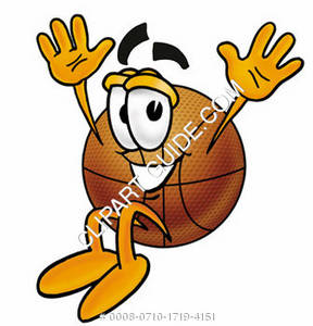 Cartoon Basketball Character Jumping