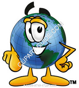 Cartoon Globe Character Pointing Forward