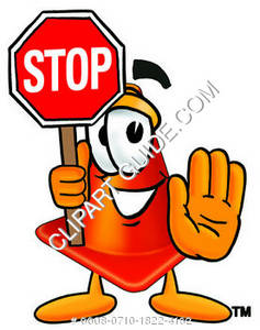 Construction Cone Character Holding a Stop Sign