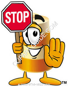 Construction Barrel Character Holding a Stop Sign