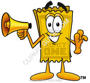 Cartoon Ticket Character Holding a Megaphone