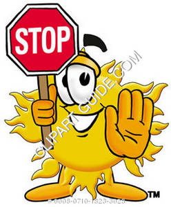 Cartoon Sun Character Holding a Stop Sign