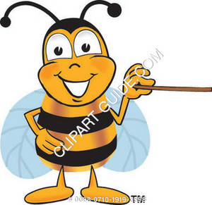 Cartoon Bumble Bee Character Welcoming Pointing