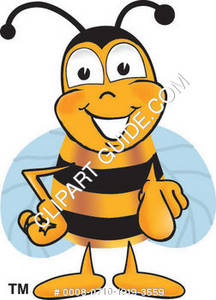 Cartoon Bumble Bee Character Welcoming Pointing Forward