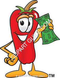 Cartoon Chili Pepper Holding Money