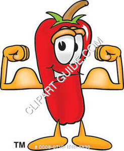 Muscle Flexing Chili Pepper Character
