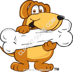 Cartoon Dog Character Holding a Bone