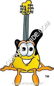 Cartoon Guitar Character Sitting