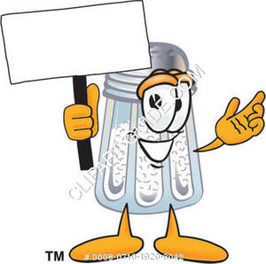 Cartoon Salt Shaker Character Holding a Sign