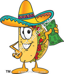 Cartoon Taco Character Holding Money