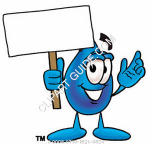 Cartoon Water Drop Character Holding a Sign