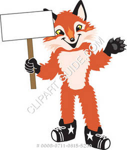 Fox Mascot Costume Character Holding a Sign