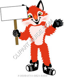 Cartoon Fox Holding a Sign