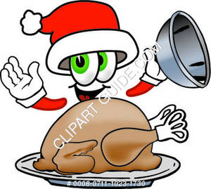 Cartoon Santa Character With A Thanksgiving Turkey
