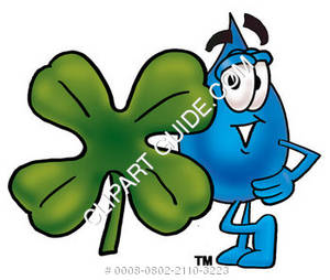 Cartoon Water Drop with Shamrock Clipart Picture