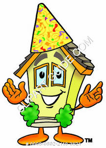 Cartoon House with Party Hat Clipart Picture