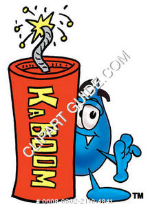 Cartoon Water Drop with Dynamite Clipart Picture