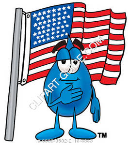 Cartoon Water Drop with American Flag Clipart Picture