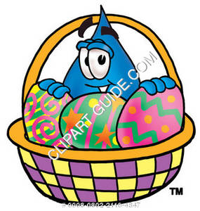 Cartoon Water Drop with an Easter basket Clipart Picture