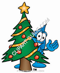 Cartoon Water Drop with Christmas Tree Character Clipart Picture