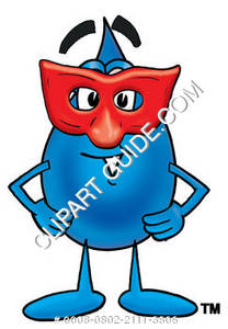Cartoon Water Drop Character Disguised with a Red Mask Clipart Picture