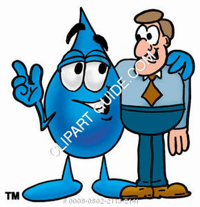 Cartoon Water Drop Character with a Man Clipart Picture