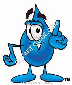 Cartoon Water Drop Character Pointing Up Clipart Picture