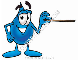 Cartoon Water Drop Character Holding a Pointer Clipart Picture