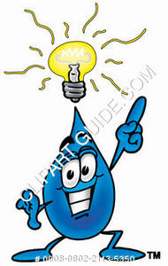 Cartoon Water Drop Character with an Idea Clipart Picture