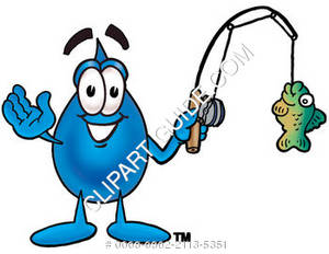 Cartoon Water Drop Character Fishing Clipart Picture