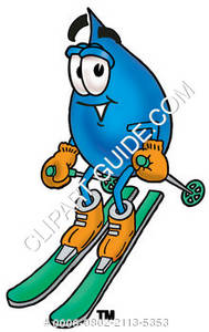 Cartoon Water Drop Character Skiing Clipart Picture