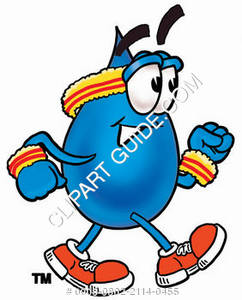 Cartoon Water Drop Character Jogging Clipart Picture