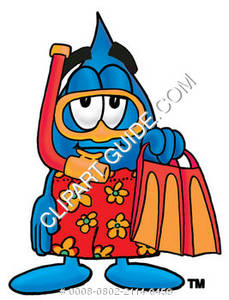 Cartoon Water Drop Character with Snorkel Gear Clipart Picture