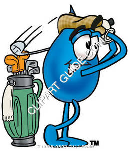 Cartoon Water Drop Character Golfing Clipart Picture